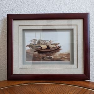 ASIAN embroidered silk framed picture